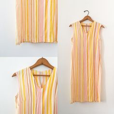Vintage Striped Shift Dress Size Extra Small to Small Retro Pullover in Orange Pink and White Summer Fashion Party Dresses by TurnerVintage on Etsy https://www.etsy.com/listing/624812767/vintage-striped-shift-dress-size-extra