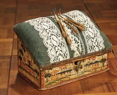 """""""For the Love of the Ladies"""" - October 1-2, 2016 in Phoenix, AZ: 337 Early Wooden Hand-Painted Box with Bobbin Lace Pillow"""