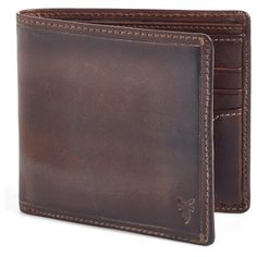 Frye 'Logan' Leather Billfold Wallet (€125) ❤ liked on Polyvore featuring men's fashion, men's bags, men's wallets, dark brown and mens leather wallet
