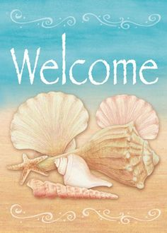 Garden Planning Toland Home Garden Welcome Shells-Cape May Garden flag - Shell House, I Love The Beach, House Flags, Beach Signs, Am Meer, Flag Design, Ocean City, Garden Flags, Beach Cottages