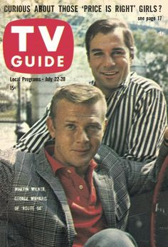 "TV Guide: July 22, 1961 - Martin Milner and George Maharis of ""Route 66"""