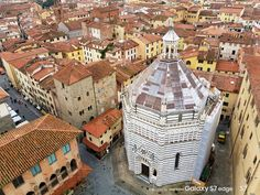 The octagonal 14th-century Baptistery amid the red pan-tiled roofs of Pistoia, Italy © Emma Sparks / Captured on Samsung Galaxy S7 / S7 edge