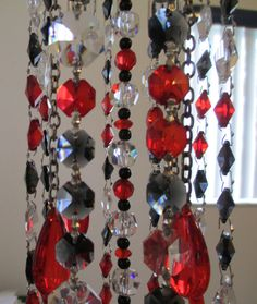 Crystal Wind Chime Black Red Crystal Wind by YourCrystalDream