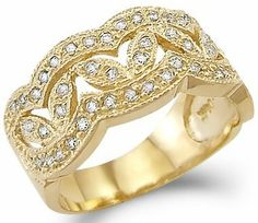Solid 14k Yellow Gold Ladies CZ Cubic Zirconia Fashion Design Band Ring New Sonia Jewels. $406.00