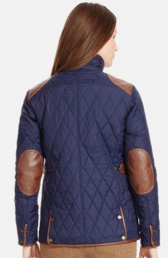 Lauren Ralph Lauren Faux Leather Trim Quilted Jacket (Regular & Petite) | Nordstrom
