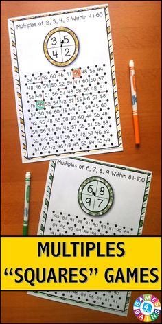"""Multiples """"Squares"""" Game contains 12 fun and engaging games to help students practice determining the multiples of single-digit whole numbers. Each one-page multiples game gets students practicing with a different range of multiples. This means that you can have each student practicing with the set of multiples that is most appropriate for his/her level."""