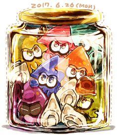 It's a jar of woomy Splatoon Squid, Nintendo Splatoon, Splatoon 2 Art, Splatoon Switch, The Legend Of Zelda, Videogames, Overwatch, Ciel Nocturne, Chibi