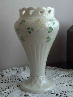 SOLD!!! 13B15B Belleek Porcelain Shamrock Pierced Vase MINT by FoundandFanciedGoods, $85.00