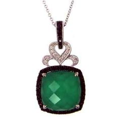 Fall in Love with this Captivating Faceted White Topaz over Green Agate Pendant with Intriguing Black and White Diamonds set in 18K White Gold. The result is exceptional beauty with a modern sensibility, creating jewelry that is timeless, stylish and wearable.
