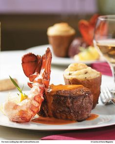 Surf & Turf Stress-free steak and lobster dinner — complete with a creamy lobster bisque sauce.  Perfect for Valentine's!