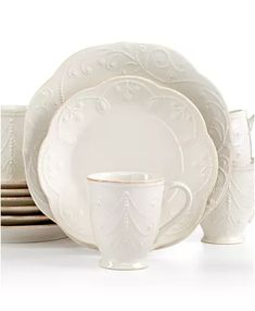 Lenox Dinnerware, French Perle Collection & Reviews - Dinnerware - Dining - Macy's Polenta Appetizer, Lenox French Perle, Tea Stains, Scalloped Edge, Hand Embroidery, Dinnerware, Stoneware, Table Settings, Entertaining