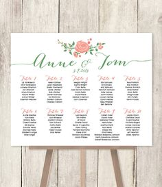10% OFF with coupon code PIN10 ~ Floral Wedding Seating Chart Sign DIY // by JadeForestDesign