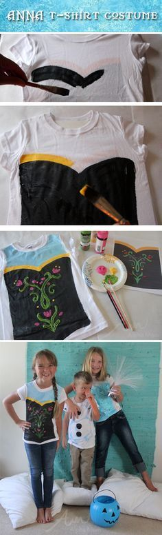 Frozen - STEP BY STEP instructions on how to paint an Anna, Elsa or Olaf t-shirt - Guides included