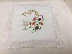Vintage Passover Afikomen Holder Matzah Seder Kiddush Cup Floral Embroidery