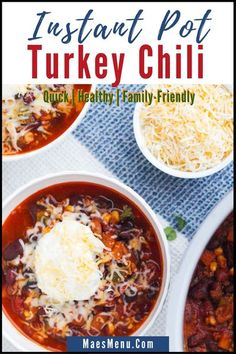 Instant Pot Turkey Chili is the perfect healthy chili recipe. It uses ground turkey, onion, diced peppers, canned tomatoes, and spices to make a healthy dinner the whole family will love. Ths pressure cooker recipe is ready in under 50 minutes. Make this easy dinner recipe tonight! #chili #groundturkey #instantpot #pressurecooker #healthydinner