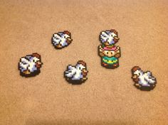 Link and a flock of Cuccos from The Legend of Zelda: Link to the Past - Perler Bead Sprite via Etsy