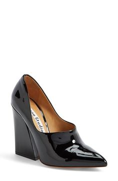 Free shipping and returns on Acne Studios 'Ilona 85' Patent Leather Pump (Women) at Nordstrom.com. A pointy-toe pump with a mule-inspired silhouette and a flared block heel nods to this season's '70s revival while providing a look that's unmistakably current.