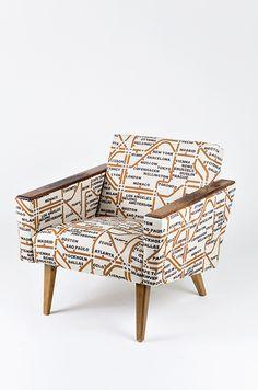 70-luvun nojatuoli uudelleenverhoiltuna. Reupholstered armchair from 70's.