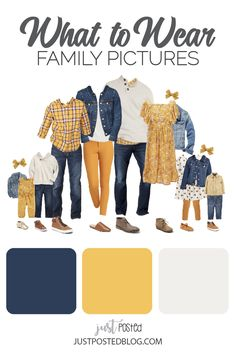 family photo outfits Mustard yellow and Navy make up this picture perfect family look for a fall or winter family photo. This link has 8 different options for what to wear for fami