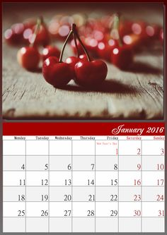 Enjoy this juicy and elegant calendar for January 2016 made with…