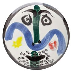 """Picasso """"Face"""" Plate 1963   From a unique collection of antique and modern pottery at http://www.1stdibs.com/furniture/dining-entertaining/pottery/"""