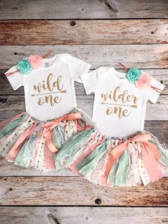 Twin Girls Wild One/Wilder One Birthday Outfits, Twin Girls Peach Mint Gold Boho First Birthday Outfits, Peach Mint Gold First Birthday Twin Birthday Themes, Twin Birthday Parties, Wild One Birthday Party, Baby Girl First Birthday, 1st Birthday Outfits, Birthday Ideas, Baby Party, Twin Girls Outfits, Twin Baby Girls