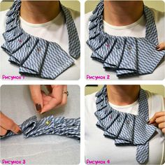New Twist on the Old Necktie! A New Twist on the Old Necktie!,A New Twist on the Old Necktie! Diy Clothing, Sewing Clothes, Old Ties, Old Neck Ties, Tie Crafts, Diy Vetement, Fabric Jewelry, Refashion, Diy Fashion