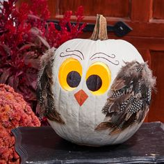 This adorable owl pumpkin will brings smiles to your friends and family. See details on how to make him in our story (plus lots more pumpkin ideas!). Faux Pumpkins, White Pumpkins, Painted Pumpkins, Halloween Pumpkins, Halloween Crafts, Halloween 2020, No Carve Pumpkin Decorating, Autumn Decorating, Decorating Ideas