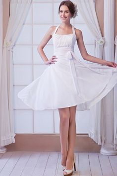 Chiffon Elegant Halfter Party-Kleid ba0860 - http://www.brautmode-abendkleid.de/chiffon-elegant-halfter-party-kleid-ba0860.html - Ausschnitt: Halfter. Stoff: Chiffon. Ärmel: Ärmellos. Farbe: Weiß. Silhouette: A-Line. - 178.59