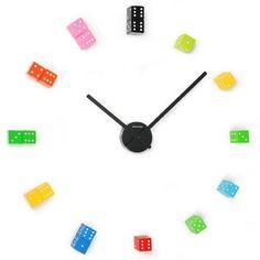 diy dice wall clock -- could use Hot Wheels cars or Legos instead for boys' bedroom! Make A Clock, Diy Clock, Clock Ideas, Unusual Clocks, Cool Clocks, Pallet Pumpkin, Diy Pumpkin, Pumpkin Ideas, Homemade Clocks