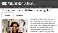 """Para The Wall Street Journal, Cristina encabeza un """"capitalismo de amigotes"""""""