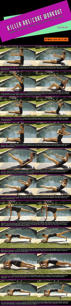 Killer Abs/Core Workout. Tone up your #abs and strengthen your core with these exercises. Click the image to see the moves in GIF form. #fitness #exercise #workout #weightloss #health