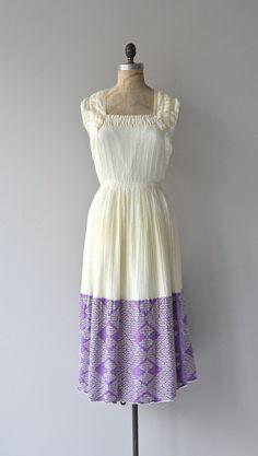 Santorini dress vintage 1970s dress cotton gauze by DearGolden