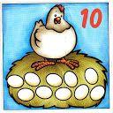 Математические карточки с курами и яйцами 0-10