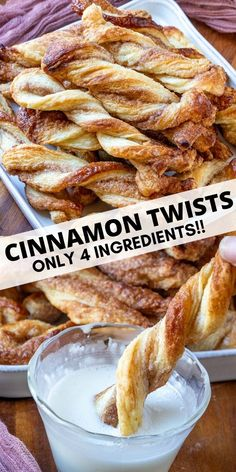 Crunchy, flaky and full of flavor these 4 ingredient Cinnamon Twists are a tasty snack that you can munch on all day! Quick to whip up and easier to eat. Puff Pastry Desserts, Köstliche Desserts, Dessert Recipes, Pastries Recipes, Sweet Puff Pastry Recipes, Phylo Pastry Recipes, Food Recipes Snacks, Easy Pastry Recipes, Plated Desserts