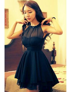 Charming Chiffon Black Sweety Style Scoop Asymmetrical Sleeveless Above Knee Casual Dresses