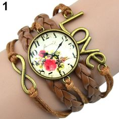 Women's Infinity Charm Love 8-Shape Weave PU Leather Faux Wrist Watch Bangle Bracelet