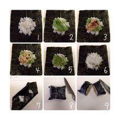 How To - Onigirazu Japanese Dishes, Japanese Food, Bento Recipes, Cooking Recipes, Sushi Sandwich, Sushi Rolls, Sushi Guide, Asian Recipes, Ethnic Recipes