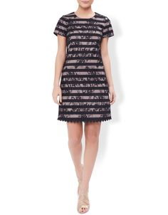 Monsoon Womens Millie Striped Lace Dress Size 8 Black. Earn your style stripes with our Millie dress. Overlaid with beautiful floral lace for an evening-ready update, this elegant t-shirt dress is sure to make for a versatile addition to your wardrobe. Fastens with a concealed zip at the back.Model wears UK 8/UK S/EU 36/US 4. Model height is 175 cm/5'9. Machine Washable.