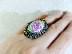 Rose Handmade Gift Polymer Clay Adjustable Ring by jewelryfimo, $45.00  Free shipping