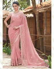 Pink Color Georgette Festival & Function Wear Sarees : Swarani Collection  YF-42811