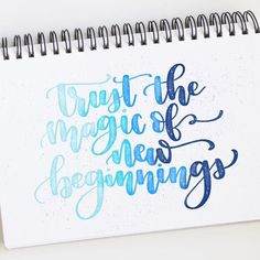 Trying something new, starting something new, or up and moving to someplace new can often take a leap of faith. A big one. Uncertainty is… Brush Lettering Quotes, Brush Pen Calligraphy, Calligraphy Doodles, Calligraphy Words, How To Write Calligraphy, Watercolor Lettering, Calligraphy Handwriting, Doodle Lettering, Creative Lettering