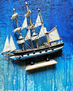 Polly Woodside Handmade Model Sailing Ship Tall Cargo Ship