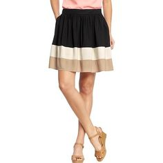 Old Navy Womens Color Blocked Poplin Skirts - Black jack