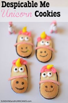 Planning a Despicable Me / Minion party or just looking for a fun snack that is easy to make? Fans of the movies or just about everyone will love these adorable Despicable Me Unicorn Cookies. Minion Birthday, Unicorn Birthday, Unicorn Party, Despicable Me Party, Minion Party, Minions, Unicorn Cookies, School Treats, School Lunches