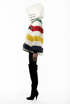 Hudson Bay Blanket Coat 2014 style. The iconic Hudson Bay blanket makes a super winter coat, parka, mittens, cushion cover, whatever......