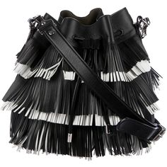 Pre-owned Proenza Schouler Small Bucket Fringe Bag (770,800 KRW) ❤ liked on Polyvore featuring bags, handbags, shoulder bags, black, leather handbags, leather hand bags, hand bags, shoulder handbags and leather fringe handbags