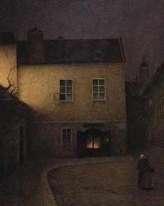 ca 'Evening Prague', by Jakub Schikaneder (Czech, Nocturne, Prague, Jakub Schikaneder, Art Moderne, Oeuvre D'art, Les Oeuvres, Painting & Drawing, Art Gallery, Illustration Art