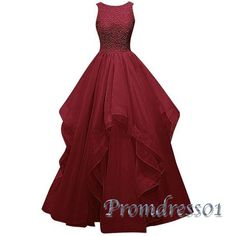 Beautiful deep red layers organza long prom dress, ball gown, prom dress 2016 #coniefox #2016prom