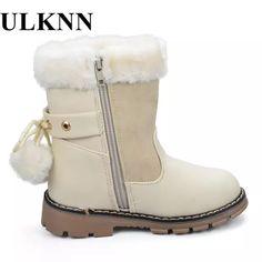 d88d97d7 23.25 |Ulknn Niñas Botas Zapatos invierno Botas de nieve caliente para los niños  Zapatos tobillo punta redonda felpa goma flores rosa negro beige en Botas  ...